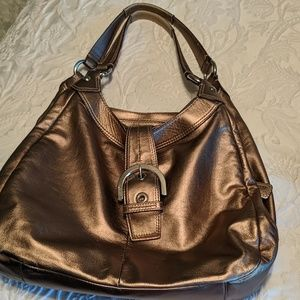 Rose gold coach shoulder bag
